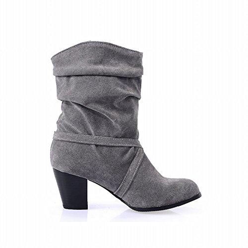 High Women's Carolbar Chains Classic Heel Charm Boots Grey Snow TtxRSxBwq