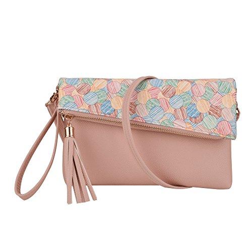 Fold Sling Floral JIARUO Small Crossbody Bag Handbag Women Leather Cover Purse Tassel Pink qw7wx4nCEI