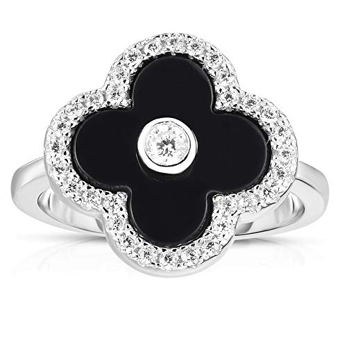 (Unique Royal Jewelry Solid 925 Sterling Silver Cubic Zirconia Open Four Leaf Clover Ring. (Black Size-6.5))