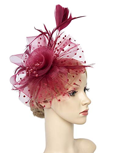 Flower Cocktail Tea Party Headwear Feather Fascinators Top Hat for Girls and Women (Burgundy) by Kathyclassic