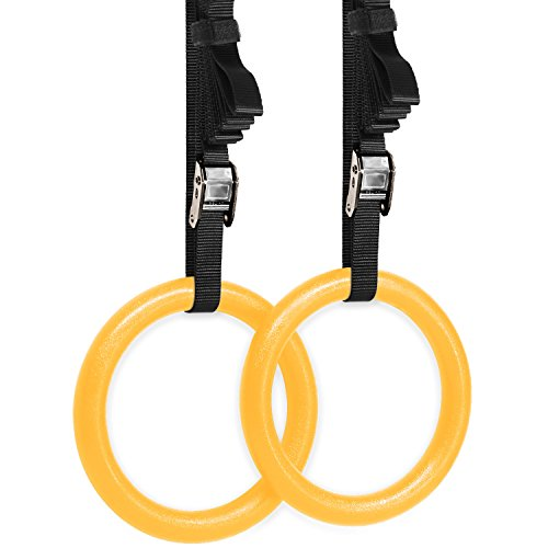 Yes4All Olympic Crossfit Gymnastic Rings with Flexible Buckles (Yellow)