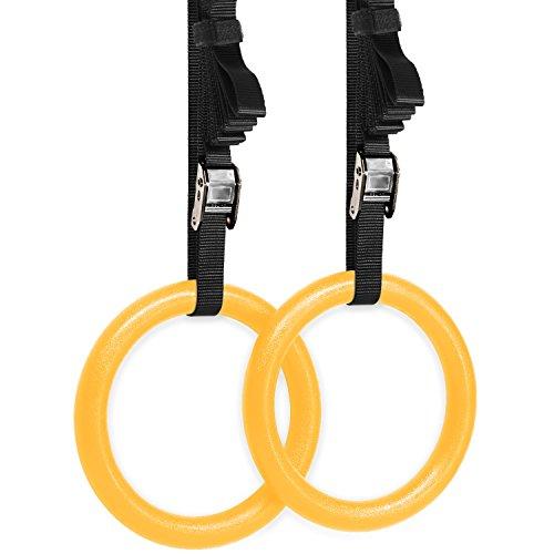Yes4All olímpicos CrossFit anillos de gimnasia con hebillas de flexible (Amarillo)