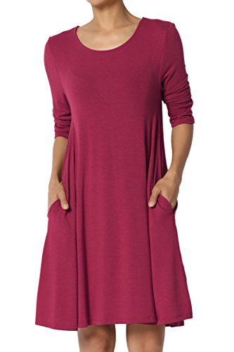 1 Jersey Sleeve - TheMogan Women's 3/4 Sleeve Pocket Swing Flared Tunic Mini Dress Wine L