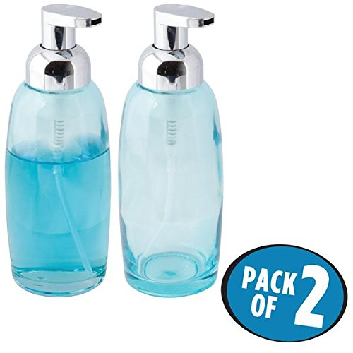 mDesign Foaming Glass Soap Dispenser Pumps for Bathroom Counter, Vanity- Pack of 2, Aqua/Chrome (Glass Counter Vanity)