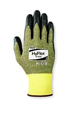 Ansell HyFlex 11-510 Kevlar Glove, Black Foam Nitrile Coating, Knit Wrist Cuff, (Pack of 12)