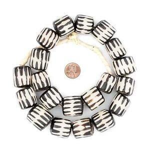 (Chevron Design Batik Bone Beads Barrel 25mm Kenya African Black and White Crafting Key Chain Bracelet Necklace Jewelry Accessories Pendants)