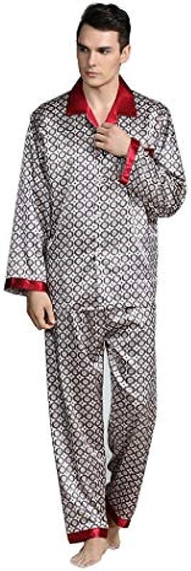 HQ-PJS Schlafanzüge Männer Print Nachtwäsche Silk Pyjamas Top Hosen Frühjahr langärmelige Hosen Simulation Silk Anzug Large Size Home Service (Color : C, Size : 3XL): Küche & Haushalt