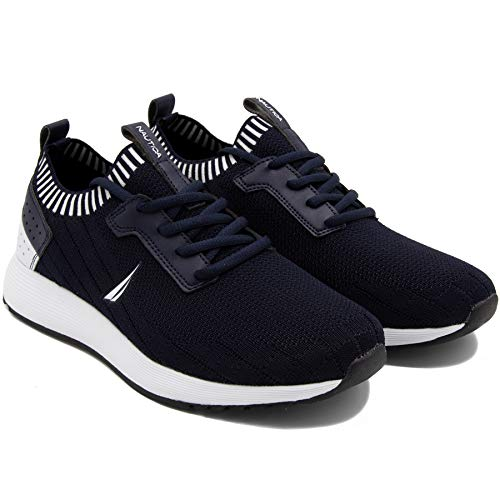 (Nautica Men's Casual Fashion Sneakers-Walking Shoes-Lightweight Joggers-Rembold-Navy Knit-8.5)