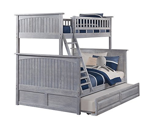 Atlantic Furniture AB59238 Nantucket Bunk Bed with Twin Size Raised Panel Trundle, Twin/Full, Driftwood
