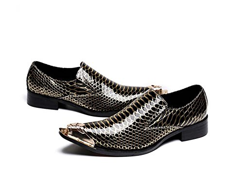 Winklepicker Metal Pointed Toe Snakeskin Mens Pump Business Casual Leather Shoes Crocodile Loafers Shoes Monk Oxford Line Effect Rock Shoes Lazy Shoes Iron Head Shoes , yellow , 42