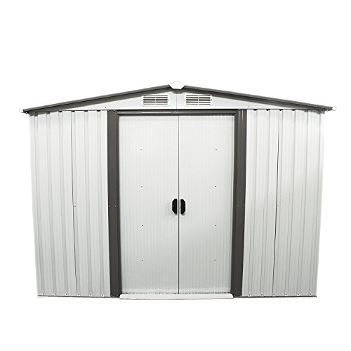 KOOLWOOM Storage Shed Outdoor Backyard Garden Steel (6'x8', White)