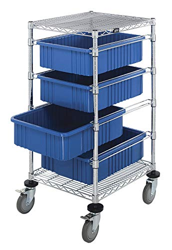 Quantum Storage Systems BC212434M1BL Wire Bin Cart with 4 DG93060 Blue Bins, Chrome Finish, 45
