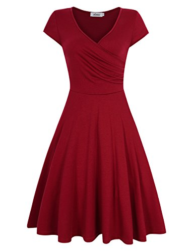 MISSKY Short Sleeve V Neck red Dresses for Women Pullover Knee Length A line Retro Vintage Swing Elegant Casual Summer Dresses for Women, Wine Red XL