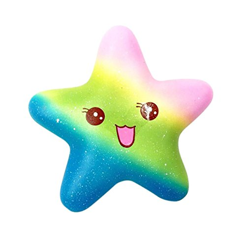 Exquisite Fun Galaxy Star fish Scented Squishy Charm Slow Rising 13cm Kids Toys Stress Relieve Squeeze Soft Lovely Toy Kids Gift Toy Slow Rising Miniature Novelty Toys Decoration (B)