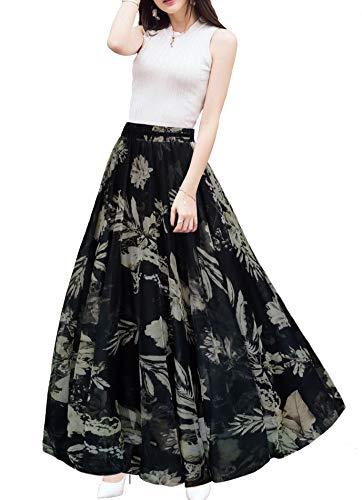 Afibi Womens Blending Chiffon Retro Long Maxi Skirt Vintage Dress (Large, Pattern 139)