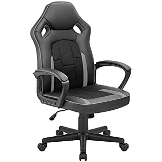 Tuoze Office Desk Chair Racing Style High Back Leather Gaming Chair Ergonomic Adjustable Swivel Executive Computer Chair for Home and Office (Grey)