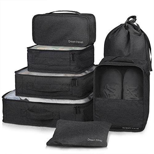 Packing Cubes 7 Pcs Travel Luggage Packing Organizers Set with Laundry Bag (Black) by NICEPACK