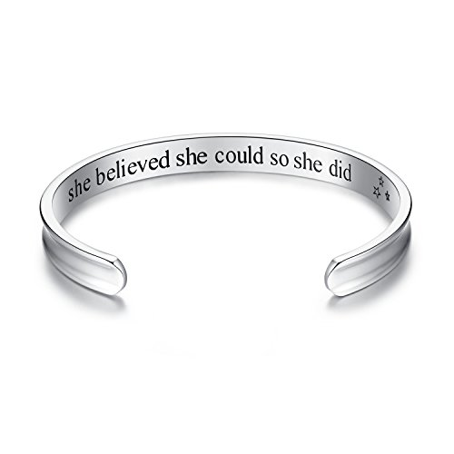 Studiocc Hair Tie Bracelet, She Believed She Could So She Did Inspirational Cuff Bracelets, Jewelry Gifts for Women Girls Her Friendship Mother Daughter Sister Mom Grandma (Silver)