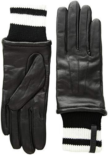 Calvin Klein Women's Leather Gloves W/Striped Knit Cuff, Black, M