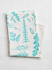 Flour Sack Tea Towel - Organic Cotton - Woodland Fern Design in Mint Green