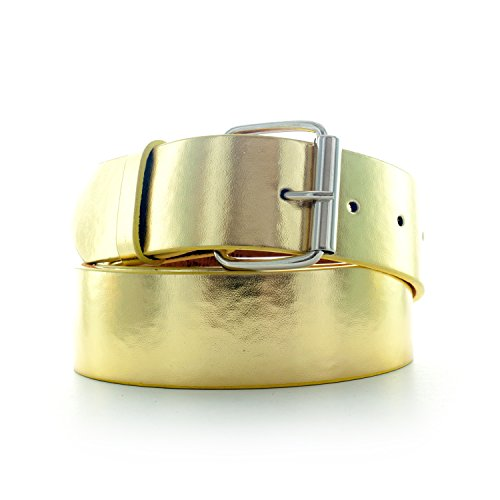 Faddism Unisex Genuine Leather Belt - Gold Extra Large (Gold Genuine Belt)