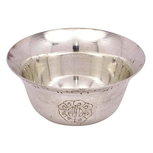 (Silver Tone Brass Religious offering Traditional Holy Water Bowl Set of 1 Piece)