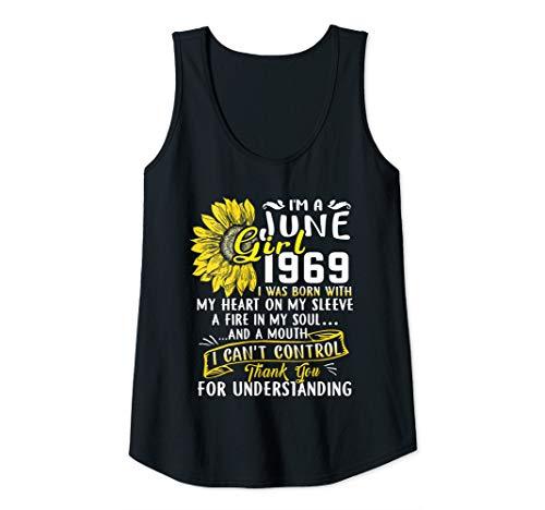 Womens I'm A June Girl 1969 50th Birthday Sunflower Gift Tank Top
