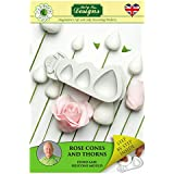 Cake Decorating Fondant Icing Silicone Mold - Sugarcraft Flower Pro Rose Cones and Thorns from Katy Sue Designs