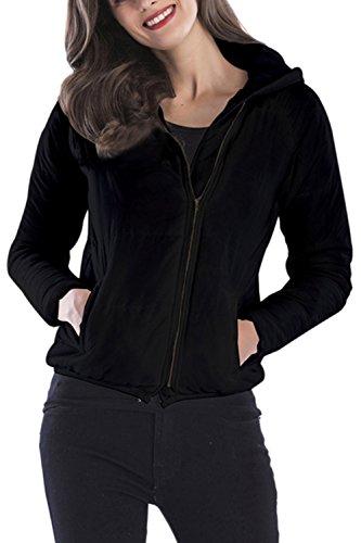 Black Un Manteau Veste Remonte À De Tops Poches Avec D'hiver Capuche Des wP4rHwq