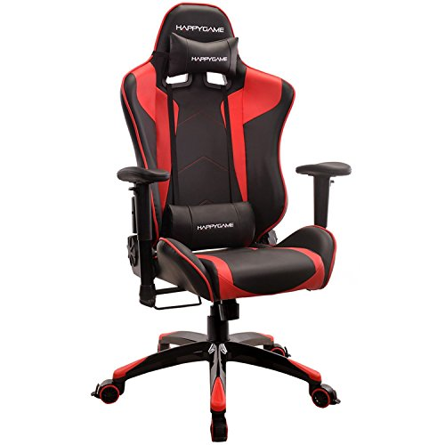 HAPPYGAME Racing Gaming Chair Oversized High-Back Ergonomic Computer Desk Office Chair PU Leather, Adjustable Headrest and Lumbar Support, Red