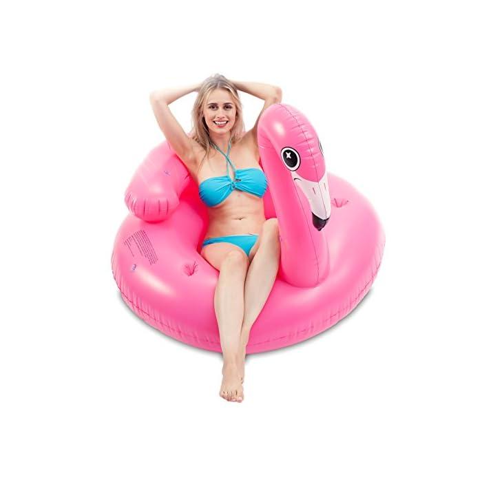 """41FGthtvdOL Adorable flamenco inflado con diámetro 45 """"de JOYIN, ¡Salón de la piscina de diseño único! Dimensión inflada: 45"""" x 50 """"x 39"""". Este colchoneta hinchable hay 2 portavasos y reposacabezas. El diseño exclusivo de la almohada, se puede sentir más comodidad y relajación. Diseño nuevo y premium: un flamenco rosado tropical con dos portavasos y ojos lindos y centelleantes."""