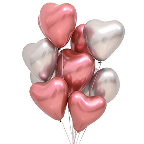 GIHOO 12inch 50pcs Metallic Chrome Balloon - Heart Balloon in Silver Pink Shiny Thicken Balloon Great for Wedding Engagement Valentines Day Bridal Shower Party Decoration Supplies (Silver and Pink) ()
