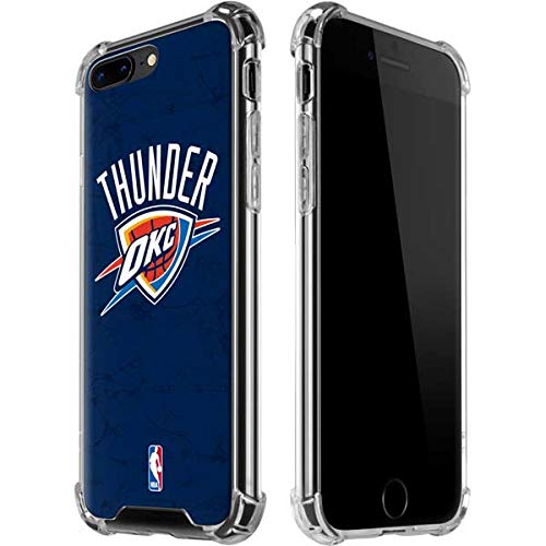Skinit OKC Thunder Distressed Blue iPhone 7/8 Plus Clear Case - Officially Licensed NBA Phone Case Clear - Transparent iPhone 7/8 Plus Cover