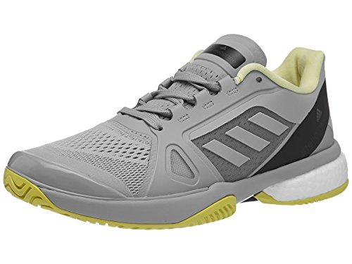adidas Women's Stella McCartney Barricade Boost 2018 Tennis Shoe (8, Eggshell Grey/Aero Lime/Core Black)