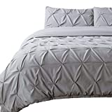 Oversized King Duvet Covers 118 X 98 Exclusive 400 TC Decorative 3-Piece Pinch Pleated Pintuck Duvet Cover Set Oversized King 98x118 Size Button Closer with Corner Ties, 100% Natural Cotton Comforter Cover, Silver Grey Solid