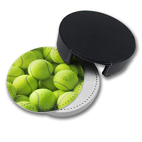 Tennis Coaster - NGFF Tennis Balls Round Drinks Coasters with Holder Set of 6 PU Leather Cup Pads