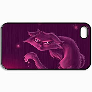 Customized Cellphone Case Back Cover For iPhone 4 4S, Protective Hardshell Case Personalized Cat Rain Grievance Black