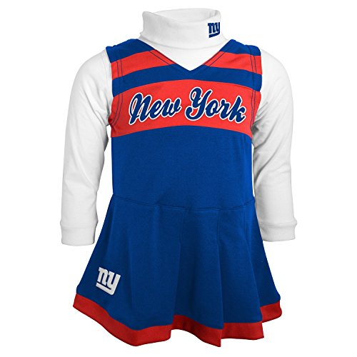 NFL New York Giants Girls Cheer Jumper Dress with Turtleneck Set, Medium, DK Royal by NFL by Outerstuff
