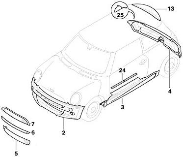 Mini Genuine Middle Bumper Front Grid Radiator Grille R50 R52 R53