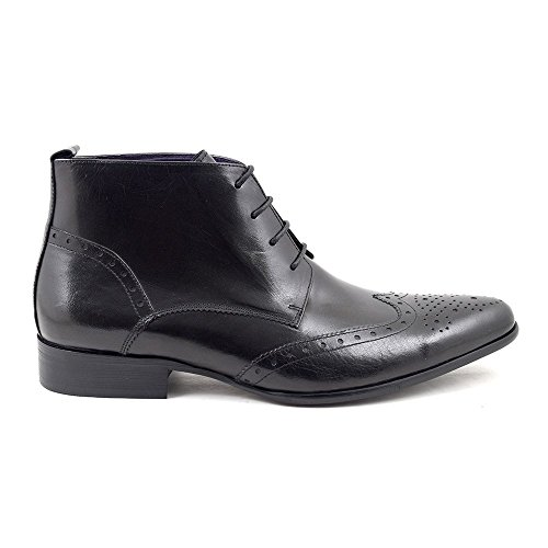 Edris Mens Pointed Black Gucinari Lace Boots up Leather Brogue fd5ycwcqT7