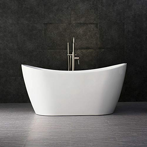Cheap WOODBRIDGE BTA-1516 white 59 Acrylic Freestanding Bathtub Contemporary Soaking Tub with Brush...