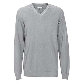 Grey Acrylic Round Neck Hoodie & Sweatshirt For Men