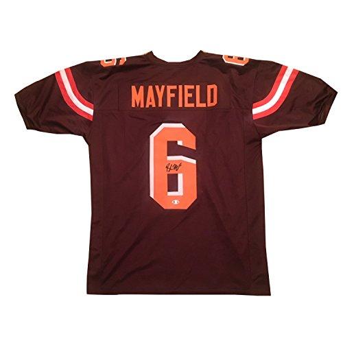 42ac5a5d774 Baker Mayfield Autographed Brown Signed Football Jersey Beckett COA