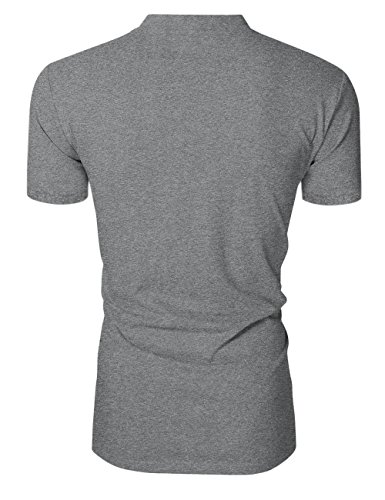 shirt Grigio V T Uomo Kuulee Scuro Corta Slim Con Palestra Manica A Scollo Da 57zqzf