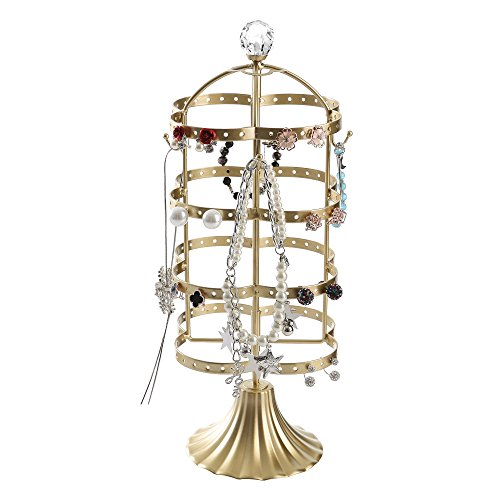 GiftWay Gold 4 Tier Rotating Jewelry Tree Organizer Stand Tower for Necklace, Bracelet, Earrings
