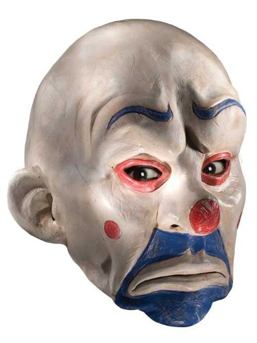 Batman The Dark Knight Adult Joker Latex Clown Mask, White, One (Joker Bank Robber Mask)