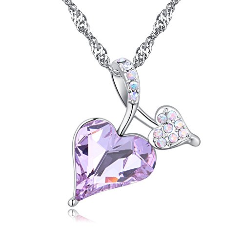 Karvnar Heart of Ocean Heart Pendant Necklace Made with Swarovski Crystals (Purple)