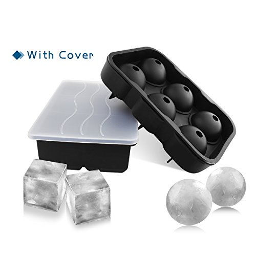 Make Skinny Frozen Wine Cocktails with GOODLOGO Silicone Ice Cube Trays Combo Sphere Ice Mold & Big Ice Cube Tray