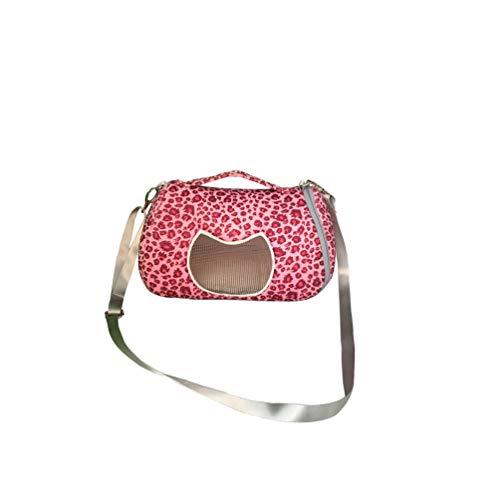 Leeotia Small Pet Carrier Bag Animal Outgoing Bag with Shoulder Strap Portable Travel Handbag Backpack for Hedgehog Hamster Mouse Rat Sugar Glider Squirrel (Medium, Pink Leopard)