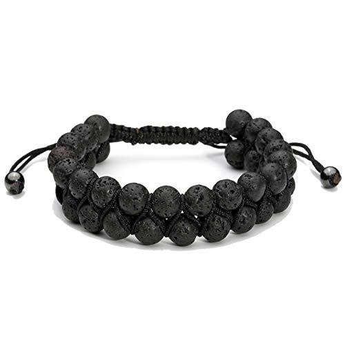 Top Plaza Men Women 8mm Lava Rock Stone Aromatherapy Essential Oil Diffuser Bracelet Braided Rope Natural Stone Yoga Beads Bracelets Bangle ()